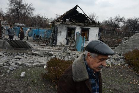 Разрушенные дома в Донецке