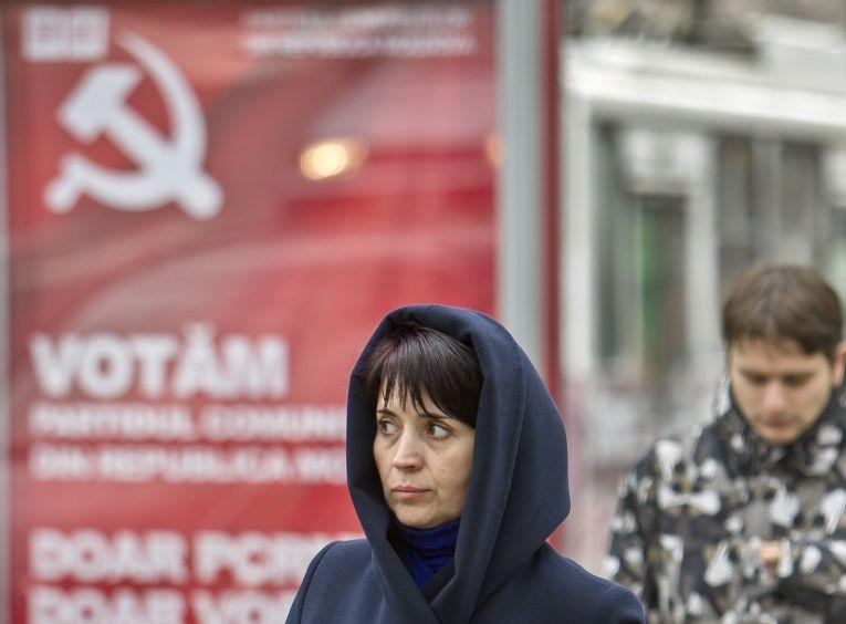 Предвыборные плакаты коммунистической партии в Кишиневе