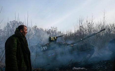 Танк народного ополчения возле села Рассыпное, Донецкая область