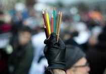 Акция в Берлине, посвященная памяти жертв парижских терактов