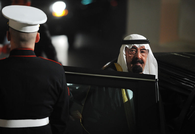Король Саудовской Аравии Абдалла Бен Абдель Азиз Аль Сауд во время визита в Вашингтон