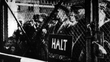 Узники Освенцима у ворот лагеря