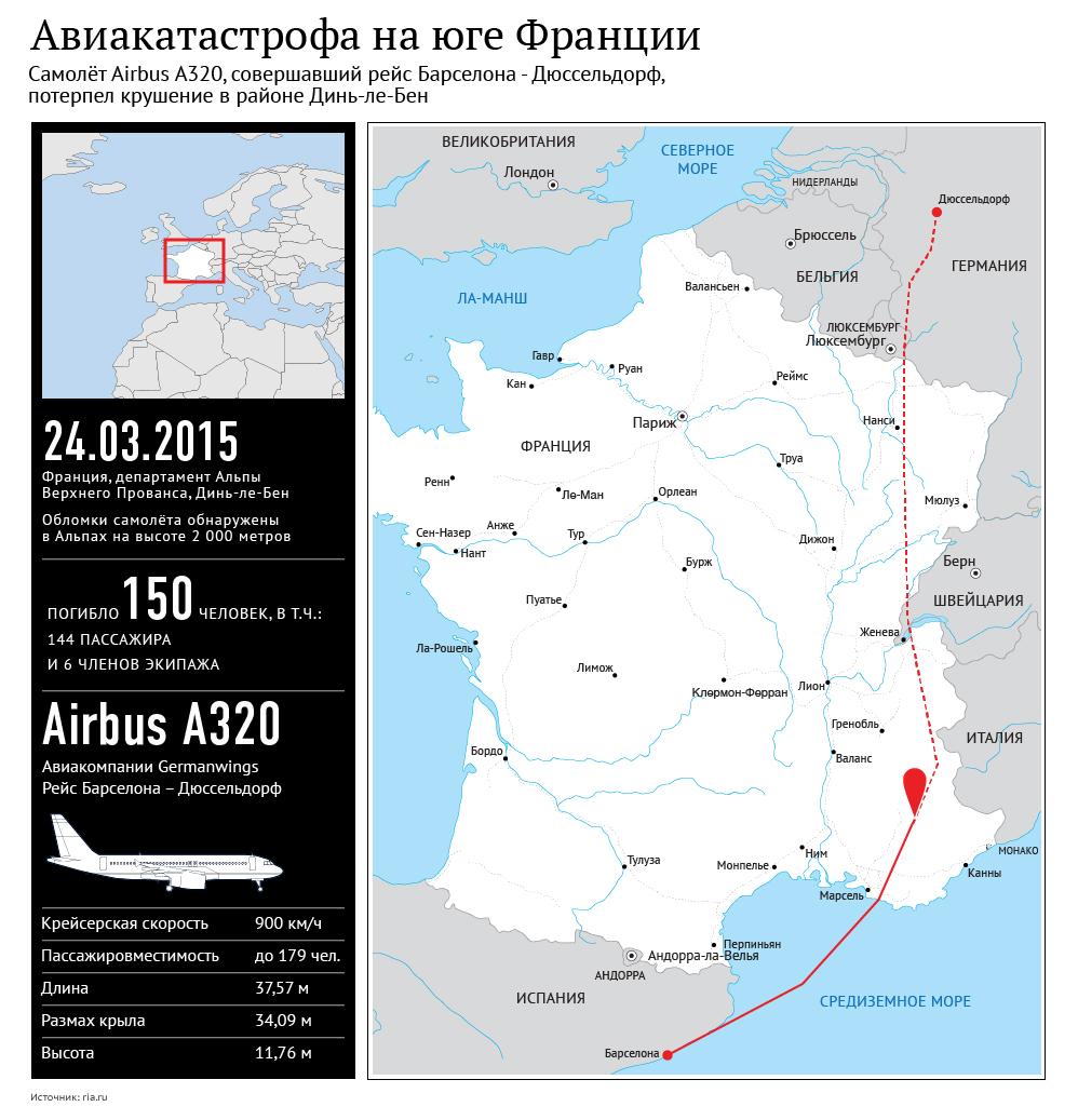 Крушение самолета Airbus A320 на юге Франции