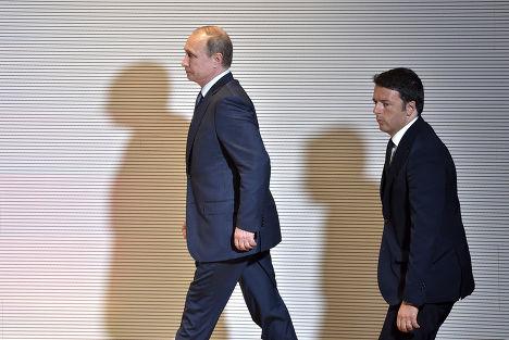Владимир Путин и Маттео Ренци перед совместной пресс-конференцией в Милане