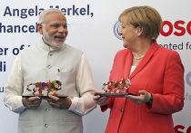 Премьер-министр Индии Нарендра Моди и канцлер ФРГ Ангела Меркель в учебном центре Bosch в Бангалоре