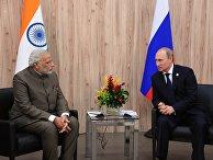 Президент России Владимир Путин (справа) и премьер-министр Индии Нарендра Моди