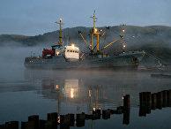 Рыболовецкий сейнер у берегов Шикотана