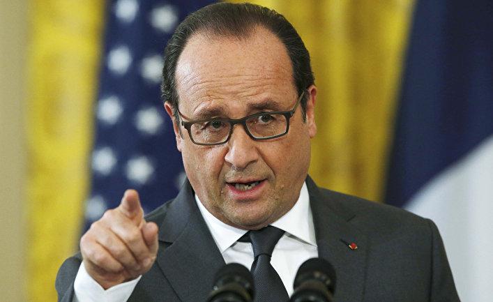 Президент Франции Франсуа Олланд во время визита в США