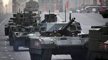 Танк Т-14 «Армата» во время репетиции парада в честь победы в Великой отечественной войне в Москве