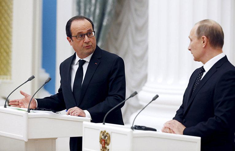 Президент России Владимир Путин и президент Франции Франсуа Олланд на пресс-конференции по итогам встречи в Кремле