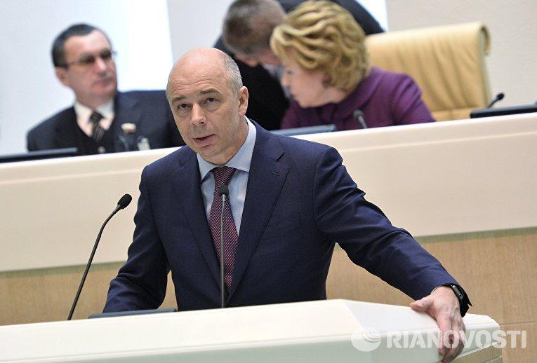 Министр финансов РФ Антон Силуанов выступает на заседании Совета Федерации Российской Федерации.