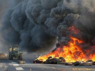 Французские фермеры блокируют шоссе RN12 рядом с Гимкампом