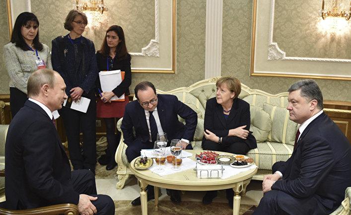 Переговоры Владимира Путина, Ангелы Меркель, Франсуа Олланда и Петра Порошенко в Минске