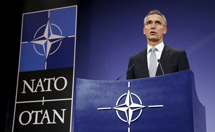 Генеральный секретарь НАТО Йенс Столтенберг во время пресс-конференции в Брюсселе