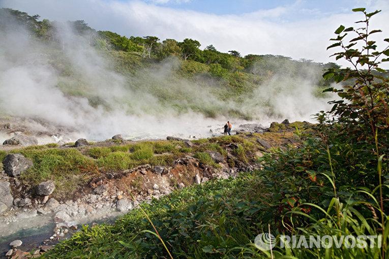 Вулкан Баранского на острове Итуруп Большой Курильской гряды