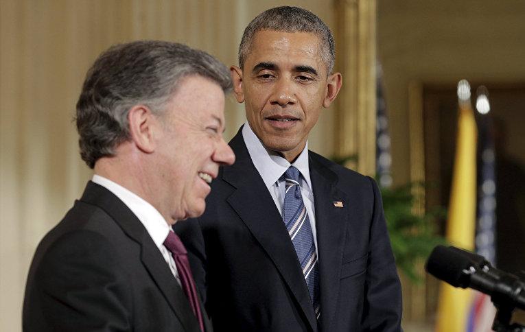 Президент США Барак Обама и президент Колумбии Хуан Мануэль Сантос на приеме в Белом доме