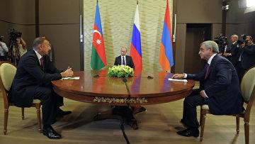 Президент РФ Владимир Путин с президентом Азербайджана Ильхамом Алиевым и президентом Армении Сержем Саргсяном