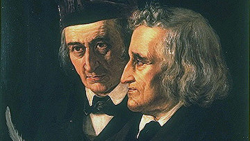Братья Вильгельм (слева) и Якоб (справа) Гримм, портрет 1855 года работы Элизабет Йерихау