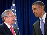 Рауль Кастро и Барак Обама на 70-й сессии Генеральной ассамблеи ООН