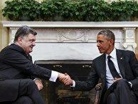 Президент Украины Петр Порошенко на встрече с президентом США Бараком Обамой
