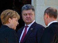 Владимир Путин, Ангела Меркель и Петр Порошенко на празнованиии годовщины высадки в Нормандии