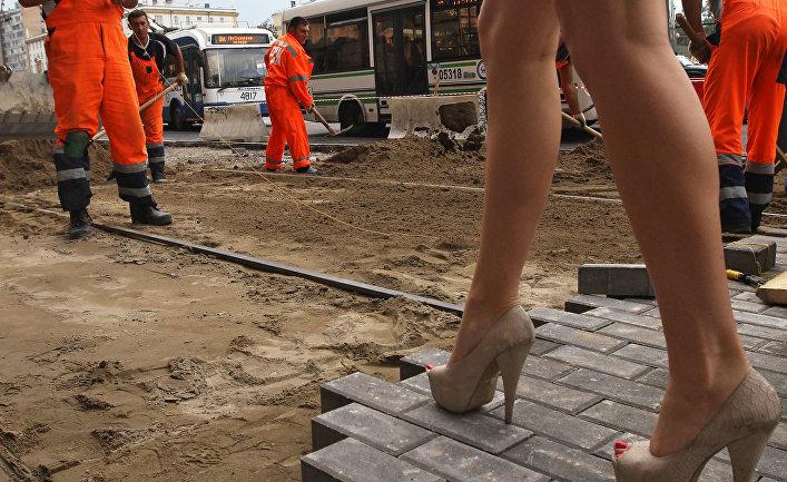 Укладка тротуарной плитки в Москве