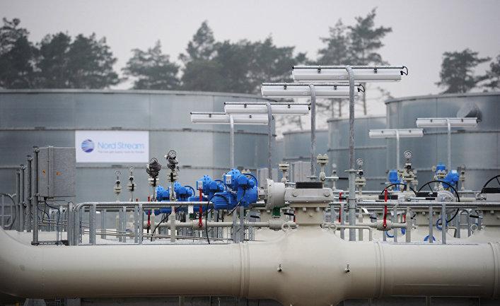 Участок магистрального газопровода «Северный поток» в немецком городе Любмин перед началом церемонии запуска в эксплуатацию