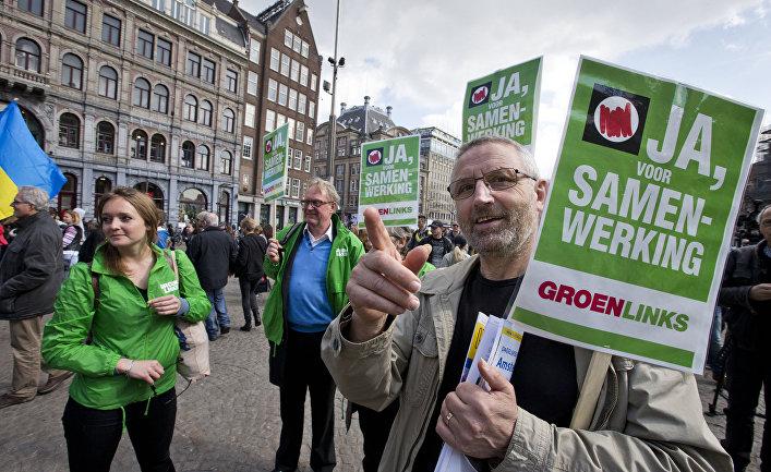 Демонстранты в Амстердаме призывают сказать «да» на референдуме об ассоциации Украины с ЕС