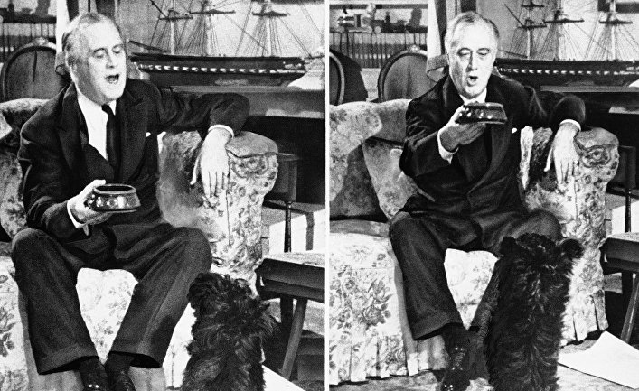 Президент Франклин Рузвельт с его скотч-терьером