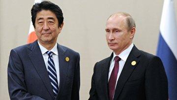 Владимир Путин и Синдзо Абэ во время встречи на полях саммита «Группы двадцати» (G20) в турецкой Анталье