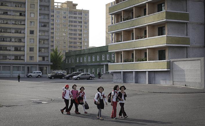 Дети в одном из районов Пхеньяна