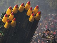 Многоствольная реактивная пусковая установка на параде в честь дня республики в Нью-Дели