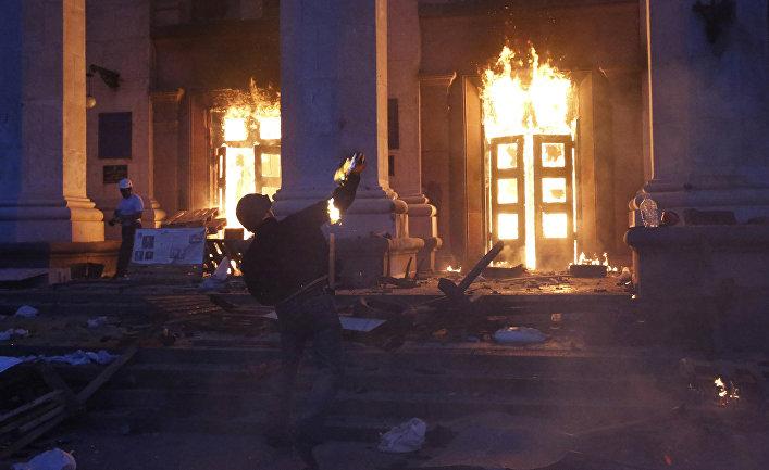 Пожар в Доме профсоюзов в Одессе