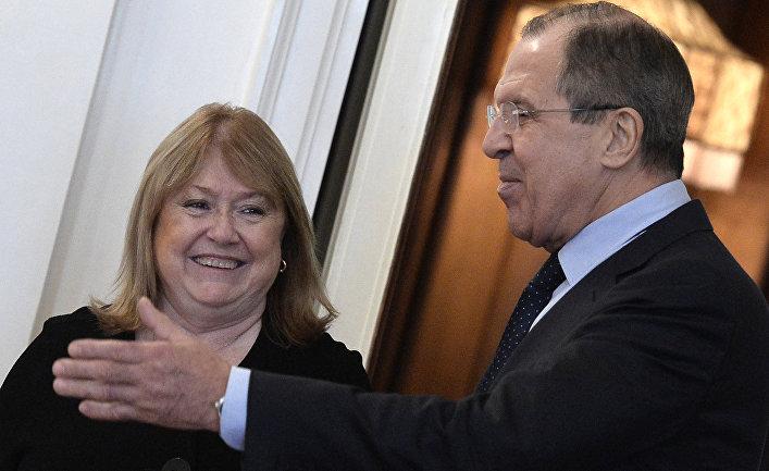 Министр иностранных дел России Сергей Лавров и министр иностранных дел Аргентины Сусана Малькорра