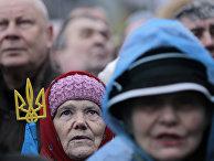 Участники протестов на Площади Независимости в Киеве