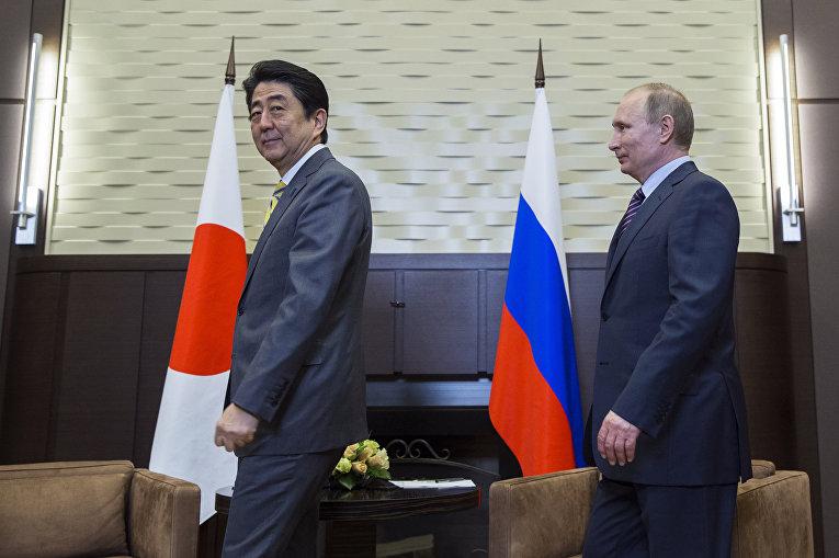 Президент России Владимир Путин и премьер-министр Японии Синдзо Абэ во время встречи в Сочи