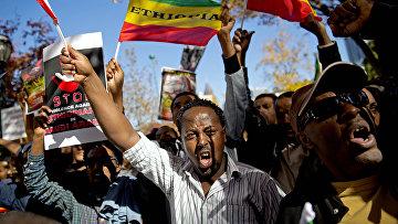 Акция протеста Эфиопцев против властей Саудовской Аравии в Атланте