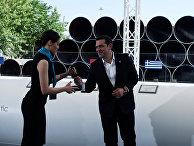 Премьер-министр Греции Алексис Ципрас на церемонии начала строительства Трансадриатического газопровода (TAP)