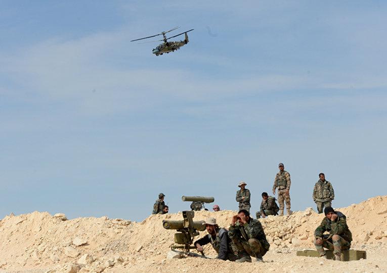 Боевое применение российского вертолета Ка-52 в Сирии