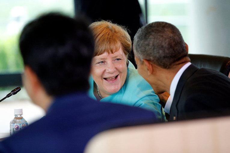 Канцлер Германии Ангела Меркель и президент США Барак Обама на саммите G7