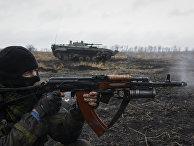 Пророссийские ополченцы рядом с Дебальцево