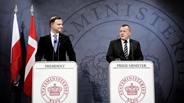 Премьер-министр Дании Ларс Лёкке Расмуссен и президент Польши Анджей Дуда