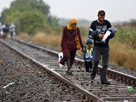 Семья беженцев идет в направлении временного лагеря на юге Венгрии