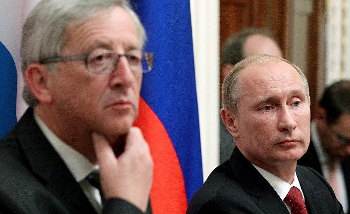 Президент РФ Владимир Путин и Жан-Клод Юнкер во время встречи в Кремле