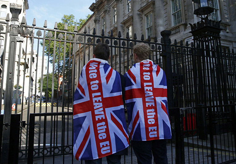 Сторонники Brexit в Лондоне, Великобритания