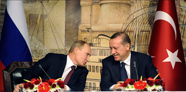Президент России Владимир Путин и премьер-министр Турции Реджеп Тайип Эрдоган