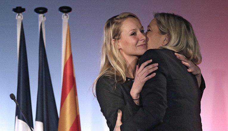 Лидер Французской ультраправой партии Марин Ле Пен и ее племянница Марион Марешаль Ле Пен