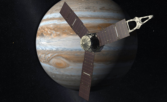Так художник представляет себе космический аппарат «Юнона» на орбите Юпитера