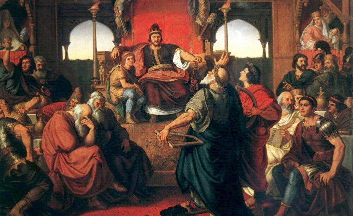 «Пир Аттилы». Справа изображён византийский дипломат и историк Приск