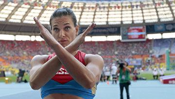 Елена Исинбаева на чемпионате мира по легкой атлетике